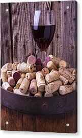 Glass Of Wine With Corks Acrylic Print by Garry Gay