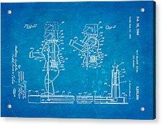 Glass Rock Em Sock Em Robots Toy Patent Art 3 1966 Blueprint Acrylic Print by Ian Monk