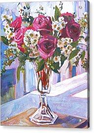 Glass Roses Acrylic Print by David Lloyd Glover