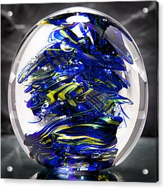 Glass Sculpture Cobalt Blue And Yellow - 13r2 Acrylic Print by David Patterson