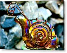 Glass Snail Garden Art Acrylic Print by Karon Melillo DeVega