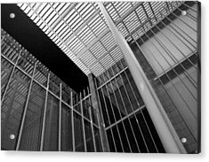 Glass Steel Architecture Lines Black White Acrylic Print