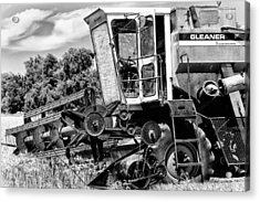 Gleaner F Combine In Black-and-white Acrylic Print by Bill Kesler