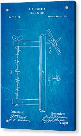 Glidden Barbed Wire Patent Art 1874 Blueprint Acrylic Print by Ian Monk