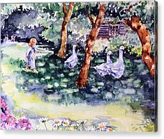 Acrylic Print featuring the painting Glimpse Into A Garden  by Trudi Doyle