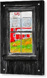 Glimpse Of Country Life- Red Barn Art Acrylic Print by Lourry Legarde