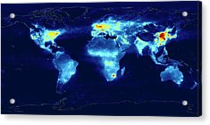 Global Monitoring Of Air Pollution Acrylic Print by Knmi/european Space Agency