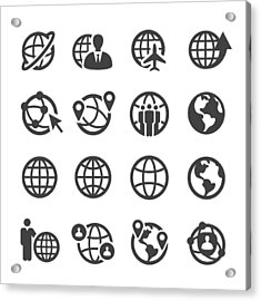 Globe And Communication Icons Set - Acme Series Acrylic Print by -victor-