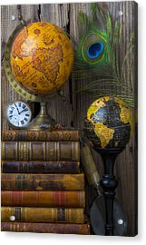 Globes And Old Books Acrylic Print by Garry Gay