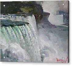 Gloomy Day At Niagara Falls Acrylic Print by Ylli Haruni