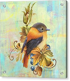 Glorious Birds On Aqua-a2 Acrylic Print by Jean Plout