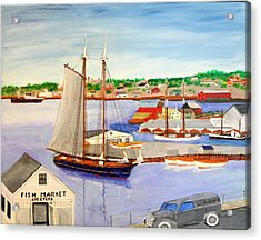 Gloucester Fish Mkt. And Schooners 1939 Acrylic Print by Bill Hubbard