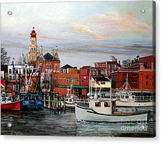 Gloucester Harbor Acrylic Print by Eileen Patten Oliver