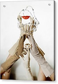 Gloved Hands Holding Jewelry Acrylic Print by John Rawlings