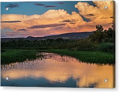 Glowing Cloud Reflected In Tranquil Acrylic Print by Jacques Laurent
