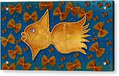 Glowing  Gold Fish Acrylic Print by Pepita Selles