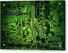Glowing Green Circuit Board Acrylic Print by Amy Cicconi