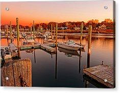 Glowing Start - Rhode Island Marina Sunset Warwick Marina  Acrylic Print by Lourry Legarde