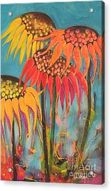 Acrylic Print featuring the painting Glowing Sunflowers by Lyn Olsen