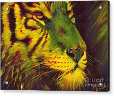 Glowing Tiger Acrylic Print by Summer Celeste