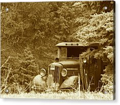 Gm Truck  Sepia Acrylic Print by Steven Parker