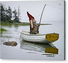 Gnome Fisherman In A White Maine Boat On A Foggy Morning Acrylic Print