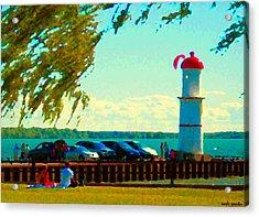 Go Fly A Kite Off A Short Pier Lachine Lighthouse Summer Scene Carole Spandau Montreal Art  Acrylic Print by Carole Spandau