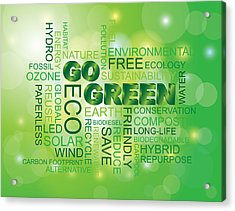 Go Green Word Cloud Green Background Acrylic Print