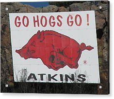 Go Hogs Go - An Atkins Landmark Acrylic Print by David V Simmons