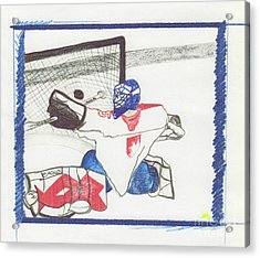 Acrylic Print featuring the drawing Goalie By Jrr by First Star Art