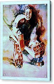 Goalie Acrylic Print by Dale Michels