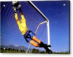 Goalkeeper Catches The Ball Acrylic Print by Lanjee Chee