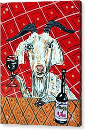 Goat At The Wine Tasting Acrylic Print by Jay  Schmetz