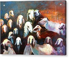 Acrylic Print featuring the painting Goat Reunion by Marcia Dutton