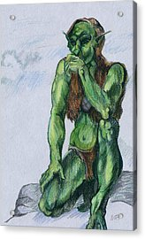 Acrylic Print featuring the drawing Goblin by Michele Engling