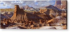 Goblin Valley State Park Panoramic Acrylic Print by Mike McGlothlen