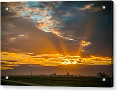 God Beams And Sunrise Acrylic Print by Connie Cooper-Edwards