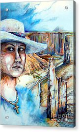 Acrylic Print featuring the drawing God by Linda Shackelford