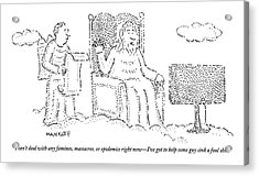 God Watches A Flat-screen Tv Acrylic Print by Robert Mankoff