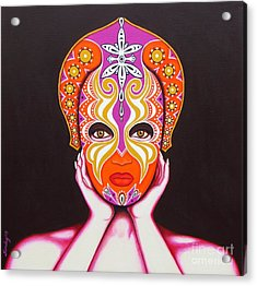 Acrylic Print featuring the painting Goddess In Pink by Joseph Sonday