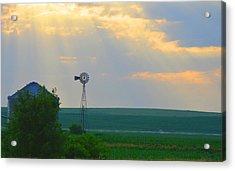 God's Light Over Windmill Acrylic Print by Renie Rutten