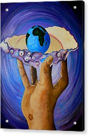 God's Little Blue Pearl Of Great Price Acrylic Print by Pamorama Jones