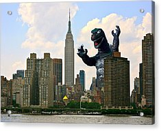 Godzilla And The Empire State Building Acrylic Print by William Patrick