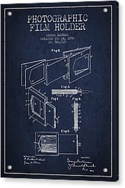 George Eastman Film Holder Patent From 1896 - Navy Blue Acrylic Print