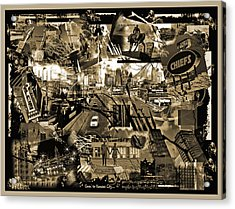 Goin' To Kansas City - Grunge Collage Acrylic Print by Ellen Tully