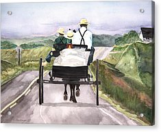 Going Home From Market Acrylic Print by Susan Crossman Buscho