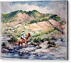 Acrylic Print featuring the painting Going Up To The Hills by Laila Awad Jamaleldin
