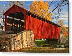 Gold Above The Poole Forge Covered Bridge Acrylic Print by Adam Jewell