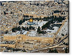 Gold And White In Jerusalem. Acrylic Print by Arik Baltinester