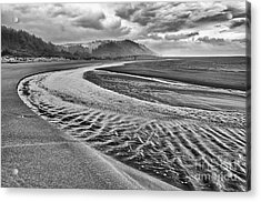 Gold Bluffs Beach Is Located In The Prairie Creek Redwoods State In Black And White. Acrylic Print by Jamie Pham